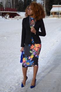 Florals: Fitted Blazer + Bodycon Dress