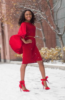 Red-dy: Cape dress + Bow pumps