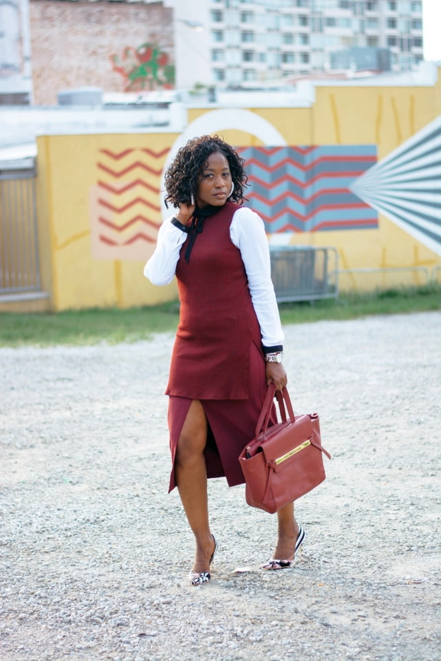 Wine/burgundy is a hot color this fall and winter. Wine outfit inspiration for work.