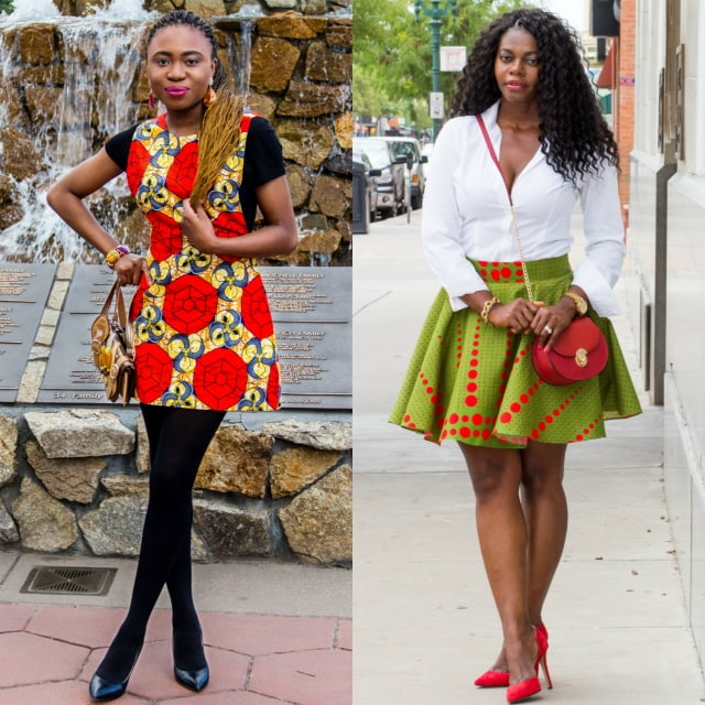 See how these two West African fashion bloggers effortlessly style ankara African print outfits. Featuring the latest African styles. Click to see the rest of their look. African fashion, Ankara, kitenge, Kente, African prints, Senegal fashion, Kenya fashion, Nigerian fashion, Ghanaian fashion