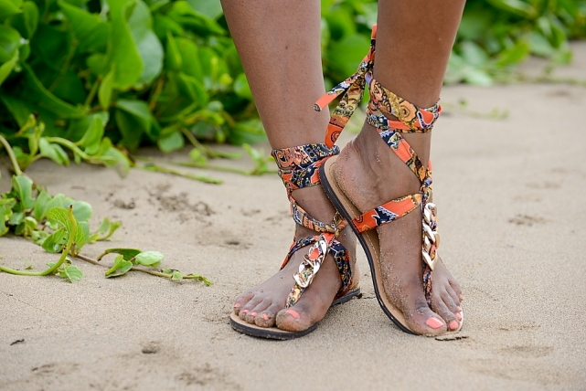 ShoeDazzle Lace Up Sandals