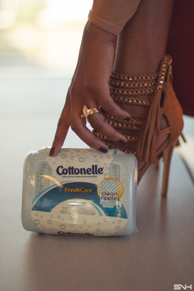 Fashion Week inspired look sharing my must-have beauty products with Cottonelle®