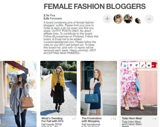 Pinterest group board for female fashion bloggers