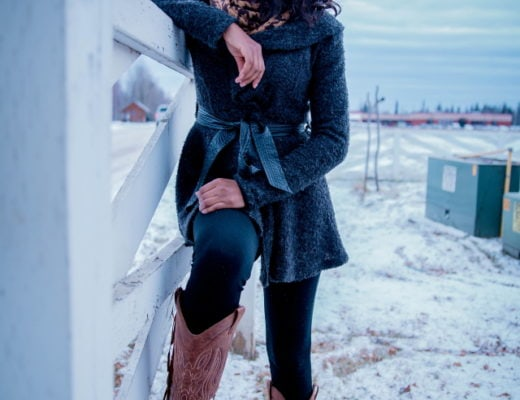 A chic way to wear a cardigan sweater this spring is to pair it with unusual pieces like she did with a fringe detailed cowboy boots. Chunky sweater | Peplum hem | Cardigan | Alaska fashion | Travel to Alaska