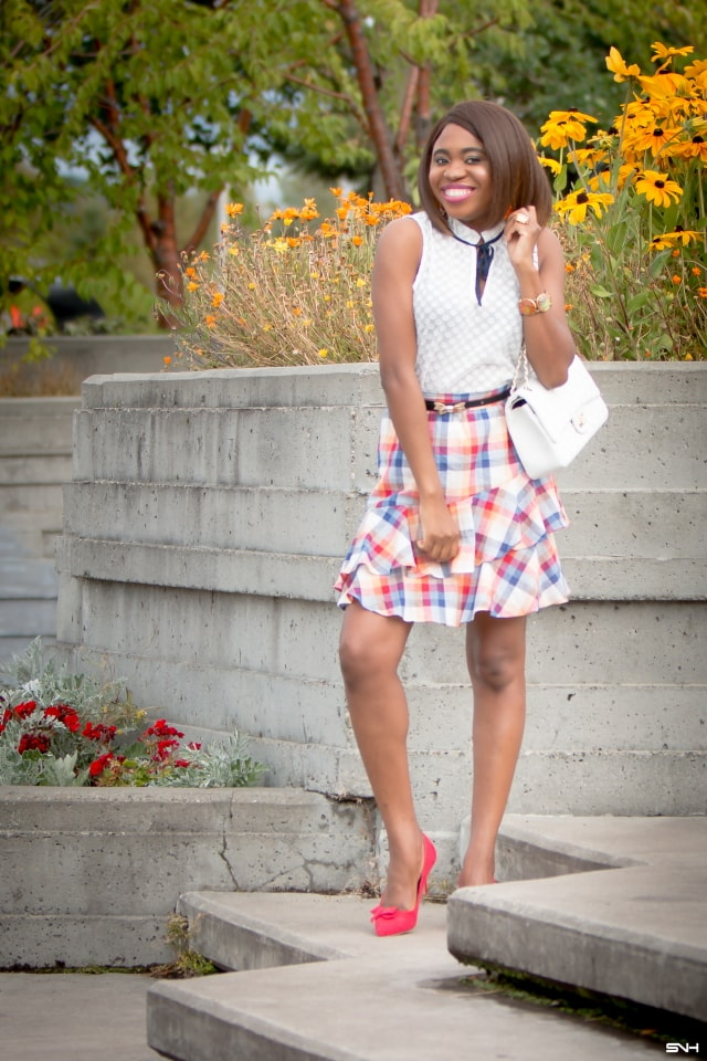 Swooning over this stunning pre-fall street style outfit with Modcloth. All about ruffles, plaids, and bow details. The perfect transitional pieces from summer to fall. summer style, dressy outfit, women's style, black girl, Nigerian blogger, style blogger, style blogger summer, street style, style bloggers & street style, style blogger faves, women's fashion, fashion ideas, street style summer, street style women, street style & casual fashion #modClothSquad