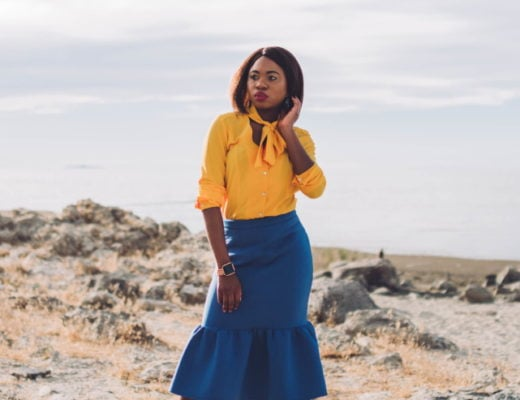 Never thought blue & yellow would look this good! Very work appropriate and stylish with the neck tie bow and peplum midi skirt. ?? Work style, dressy outfit, women's style, black girl, Nigerian blogger, pussy bow top, neoprene skirt, iridescent hologram heels