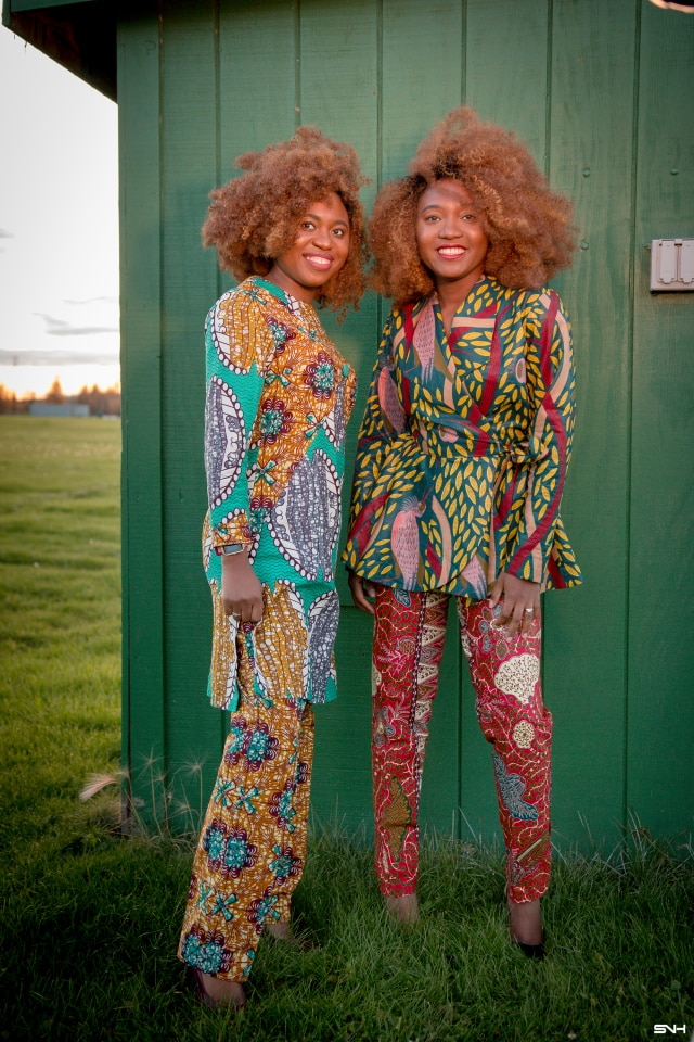 Twins: Born Together. Friends Forever! They definitely make me wish I had a twin to go through life with. These fraternal twins look so chic rocking this African print ankara pant suit. Definitely saving this look for fall and the holiday. Fall style, dutch wax, kente, kitenge, dashiki, African styles, African prints, Nigerian style, Ghana fashion #ankara #africanprint #kente #ootd #twins