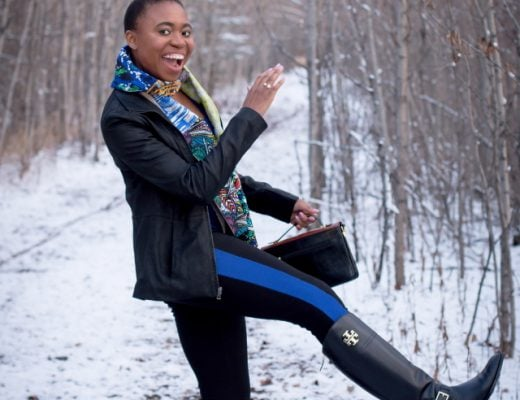 Is it still fall when you have inches of snow + subzero degree weather? Rocking a chic African print scarf paired with a leather jacket, ponte leggings, and must-have riding boots. PLUS sharing a hidden jewel that I use to keep my lips moisturized even in Alaska! Get the scoop over on the blog. #fall #winter #ridingboots