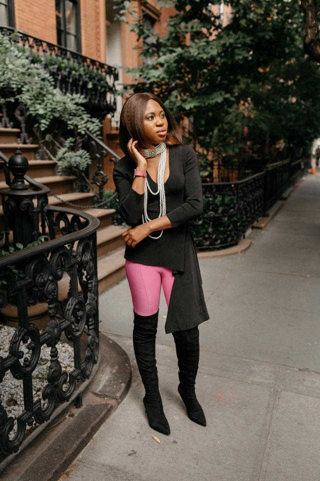 Obsessed with this her pink and black sweater outfit ?. The suede thigh high boots and statement choker necklace make this fall style crush-worthy. Totally rocking this look soon! #nyfw #sweater #ootd #outfits #fallstyle