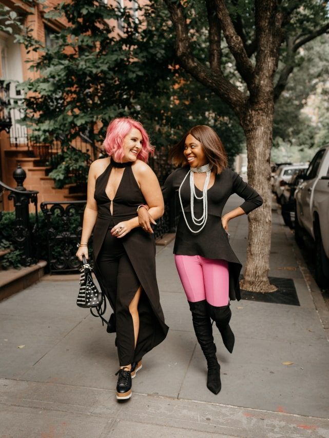 Pure pink perfection! ? Their transitional summer to fall outfit makes my heart skip a beat. Thigh high boots, asymmetrical sweater, dramatic necklace and a dash of pink and black are what I need this fall. The perfect autumn look. Getting my bestie on this train! #nyfw #sweater #ootd #outfits #fallstyle
