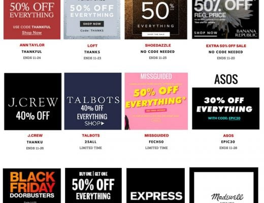Stress less and shop happy this Black Friday. Chic fashionista, Louisa Moje rounded up the absolute best deals and coupons to help you save money on all your Cyber Week shopping and Pre-Black Friday purchases. Get the scoop in this post!
