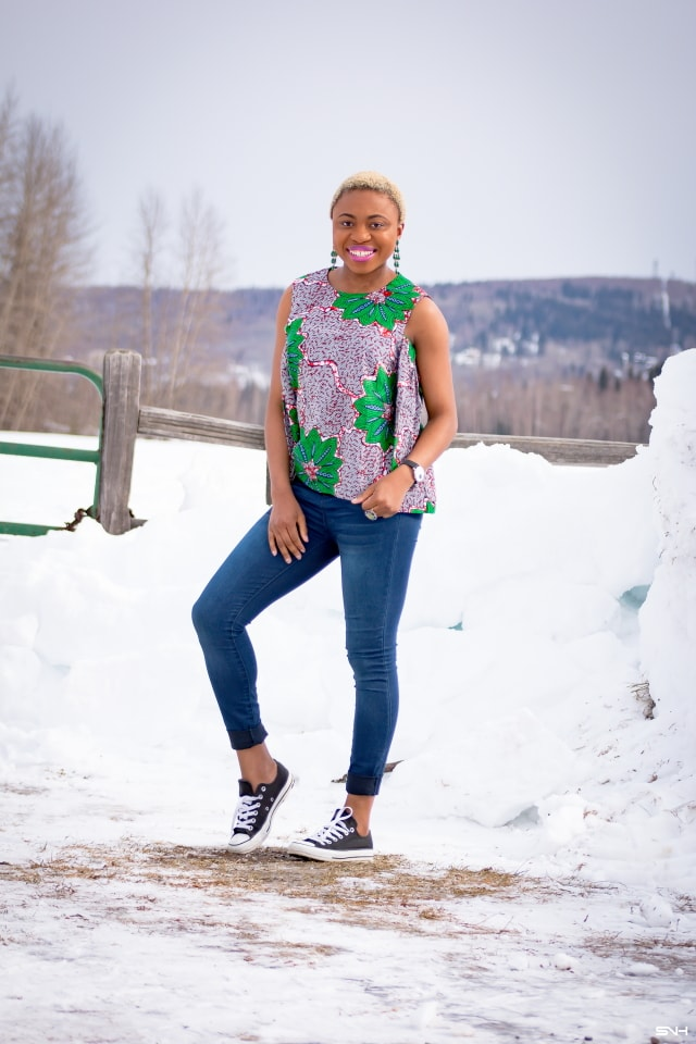 On the search for a casual cool way top step up your African print style this year? Find more everyday stylish African looks like this ankara two-way top from Nigeria-born fashionista, Louisa Moje. Her African print fashion series opens the door to ethnic fashion in the diaspora. Click for details! ankara styles, african clothes, dashiki, african dress, african clothing, african print dresses, African dress styles, African fashion, Nigerian fashion, Senegal fashion, African attire, dutch wax
