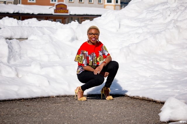 Just when you thought you knew everything about African print fabric, you discover this stylish ankara chiffon blouse! The lightweight layered ruffles with a linen upper makes this blouse the ultimate summer must-have African top. Beautifully paired with a fitted skinny jeans and trending tie-up tassel sandals. I just can't get enough! #ankara #africanprint #ankarafashion #nigerian Dashiki, African print dress, African fashion, African women dresses, African prints, Nigerian style