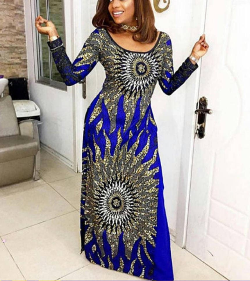 African print gown and pants set