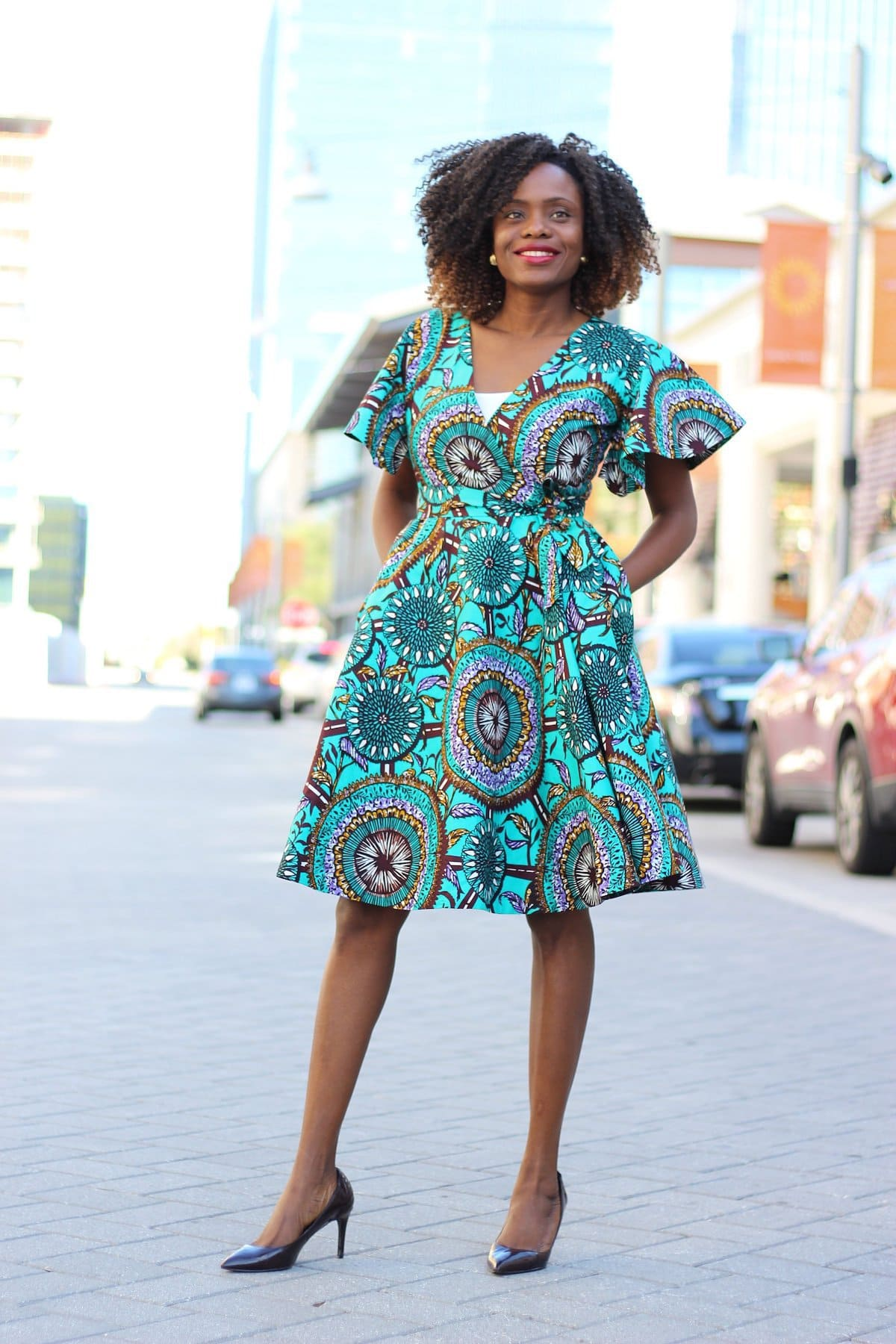A roundup of the best ankara dresses for women.Wrap dresses are, by nature, flattering and form fitting while also having a flowing, casual appeal about them. The Cecey Wrap Dress is a shining example. Featuring loose flounce sleeves, the dress is fully lined and has been handmade to ensure its superb quality.