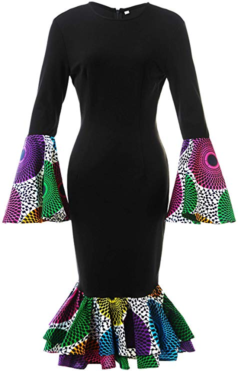 African print traditional dress with ankara sleeves and hem