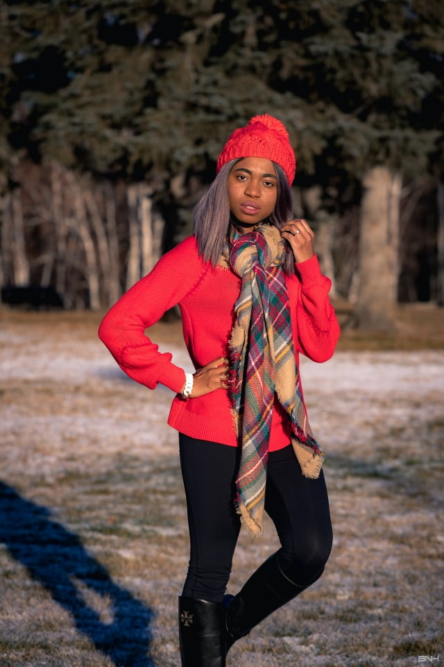A fun and vibrantly beautiful cold weather outfit wearing a pullover sweater, highly-rated Zella leggings, and a pair of chic riding boots. This is a practical and stylish cold weather look that can be worn time and time again during colder months. This post is all about winter outfits, Alaska fashion, New Jersey fashion blogger, black style blogger.