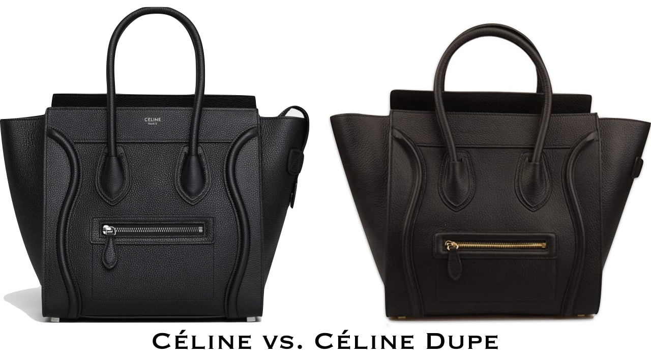 Check out this side by side comparison between the Celine mini luggage tote and its designer dupe. This dupe looks like an actual Celine handbag without the hefty price tag.