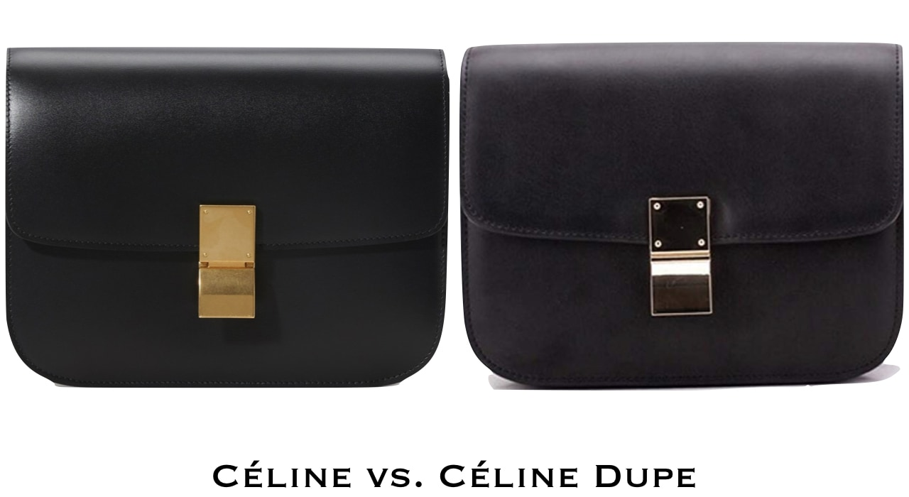 A side by side of a Celine bag in a box and a Celine Box Bag Dupe