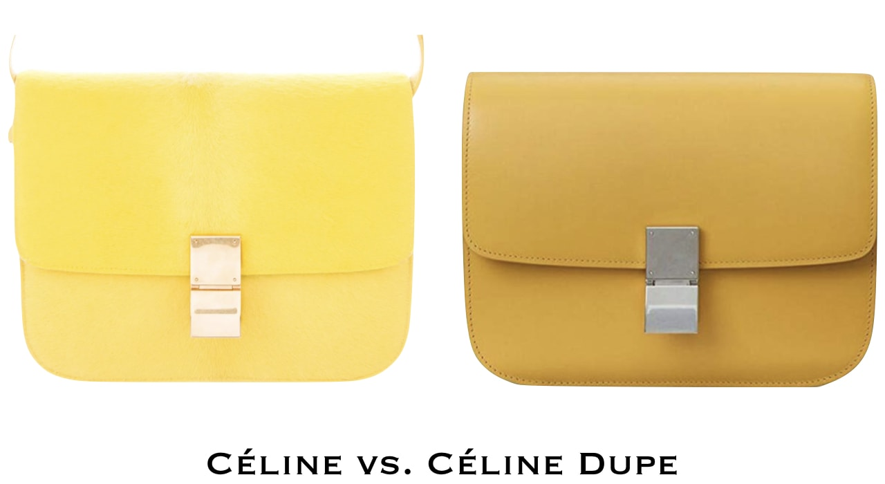 A yellow Celine medium classic bag in a box next to a Celine inspired purse