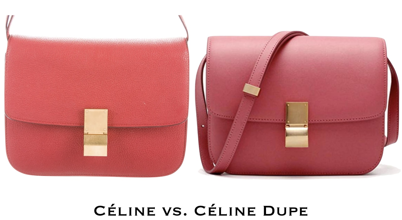 A red Celine medium classic bag in a box next to a Celine inspired purse