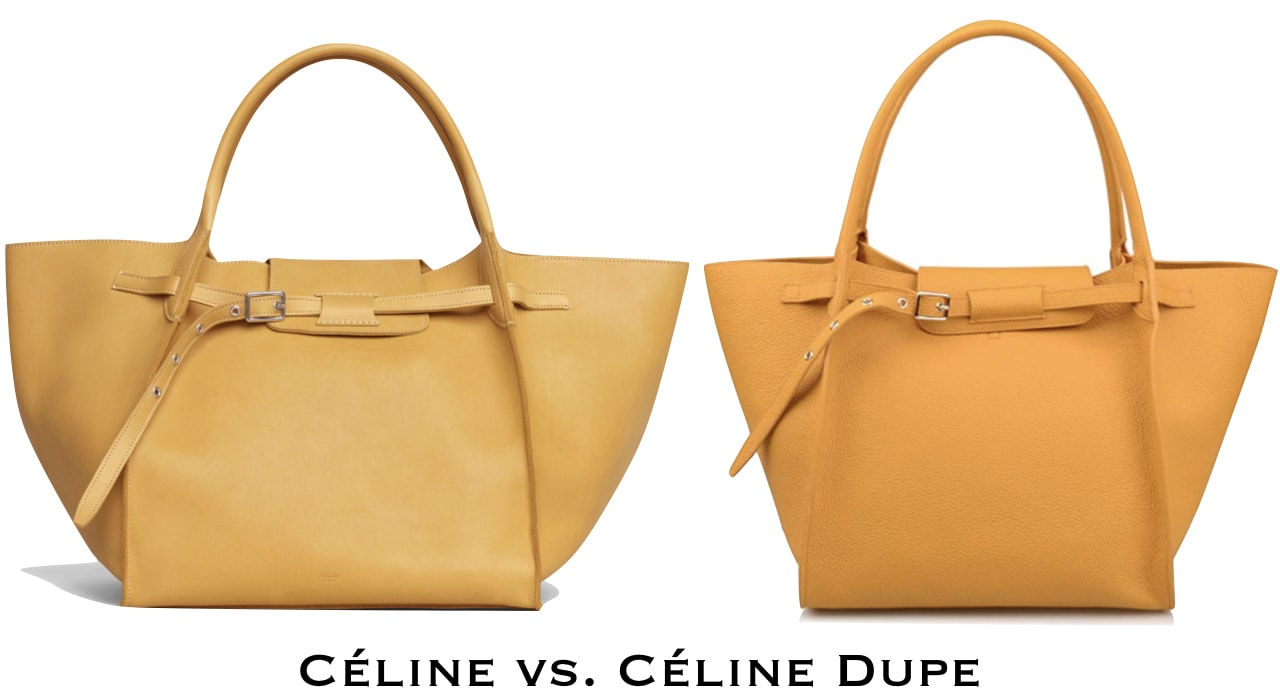 A side by side comparison between the Celine Big Bag handbag next to an amazing designer dupe.