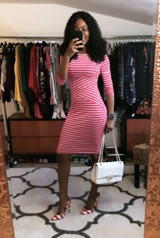 Amazon Fashion Three Quarter Sleeve Striped Pencil Dress