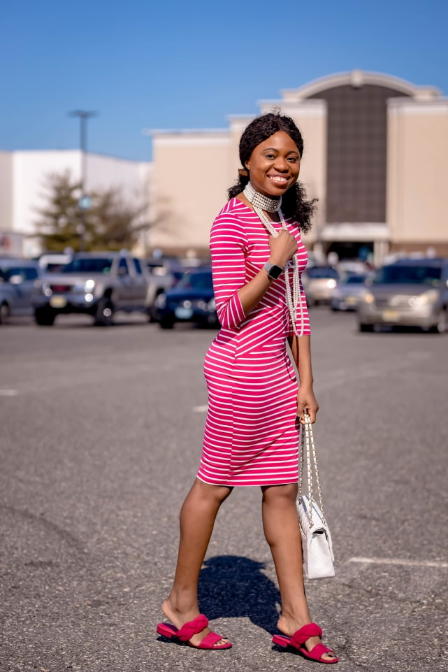 Style blogger, Louisa shows us how to style the best Amazon bodycon dress. She breaks down how to transform this 3/4 sleeve dress by pairing it with slingback striped sandals, a quilted structured purse (Chanel-inspired bag), and statement jewelry for the ultimate date night outfit or cocktail dress. Next, she styles it with a pair of pink braided slides. With so many summer outfit options, you're not going to believe how cheap this pencil dress is. This post covers summer outfits, summer dresses, bow pump #amazonfinds #amazonhaul #amazonfashion