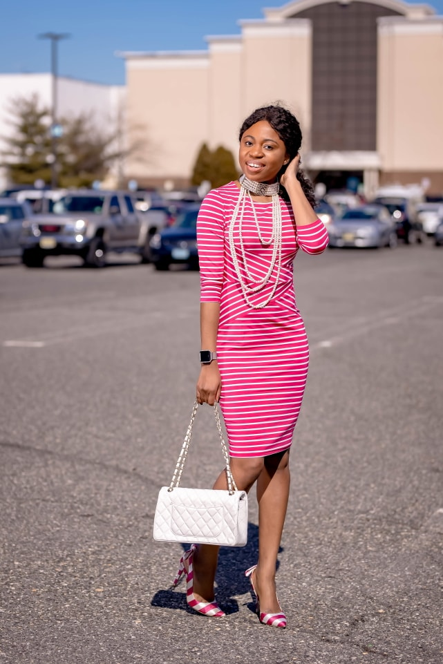 Style blogger, Louisa shows us how to style the best Amazon bodycon dress. She breaks down how to transform this 3/4 sleeve dress by pairing it with slingback striped sandals, a quilted structured purse (Chanel-inspired bag), and statement jewelry for the ultimate date night outfit or cocktail dress. Next, she styles it with a pair of pink braided slides. With so many summer outfit options, you're not going to believe how cheap this pencil dress is. This post covers summer outfits, summer dresses, bow pumps #amazonfinds #amazonhaul #amazonfashion
