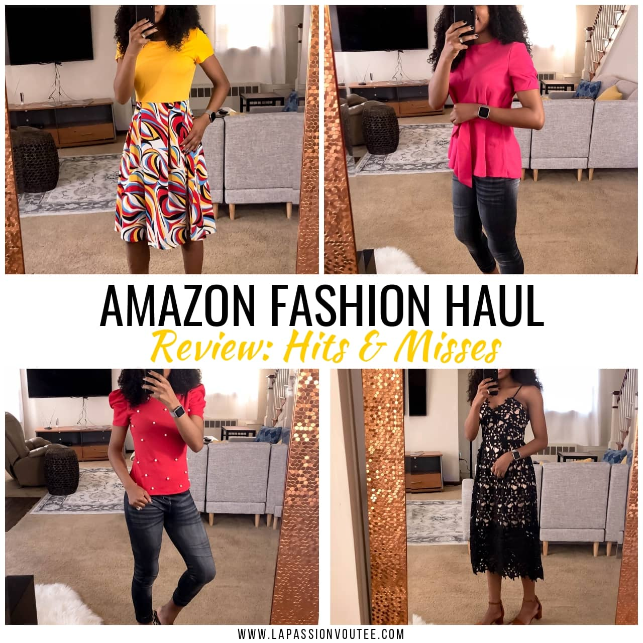 This is the ultimate Amazon clothing haul post with try-on photos sharing Amazon finds hits and misses. And most of these items cost under $20! Keep reading to discover tips on how to maximize your savings on Amazon.