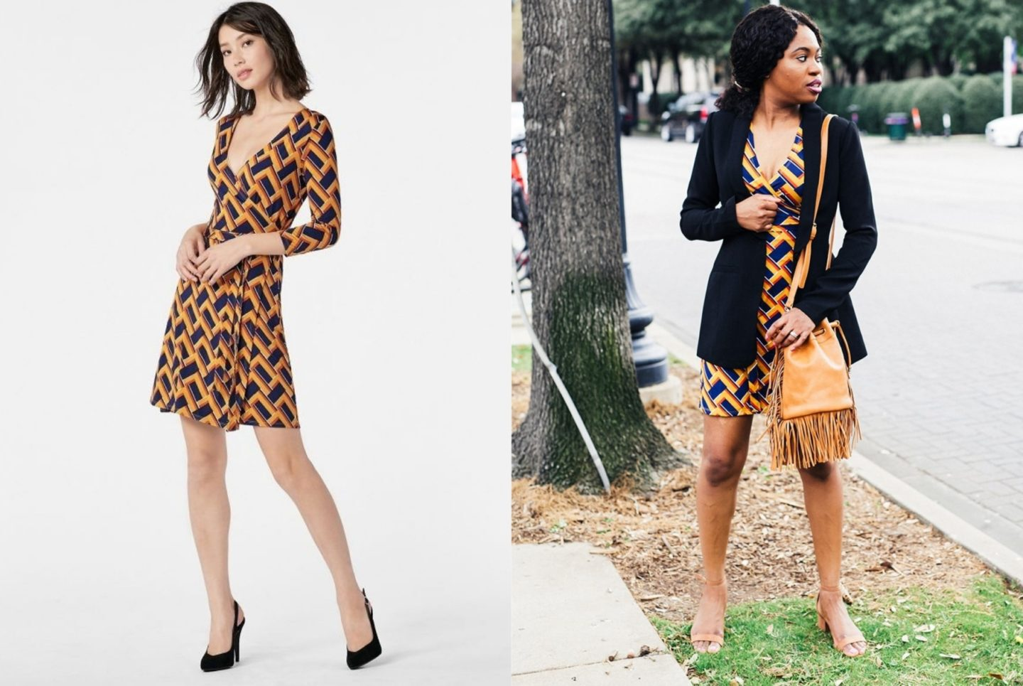 This is my honest review after spending my hard-earned money shopping for dresses and shoes on JustFab. Is JustFab legit or scam? A side by side comparing wearing a JustFab 3/4 Sleeve Wrap Dress.