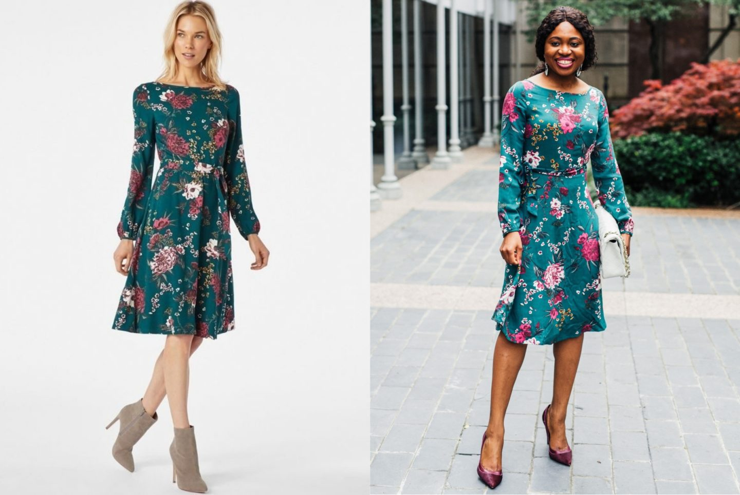 A side by side comparing wearing a JustFab Belted Blouson Sleeve Dress. Is JustFab a scam? Here's my honest review after spending my hard-earned money shopping for dresses and shoes on JustFab.