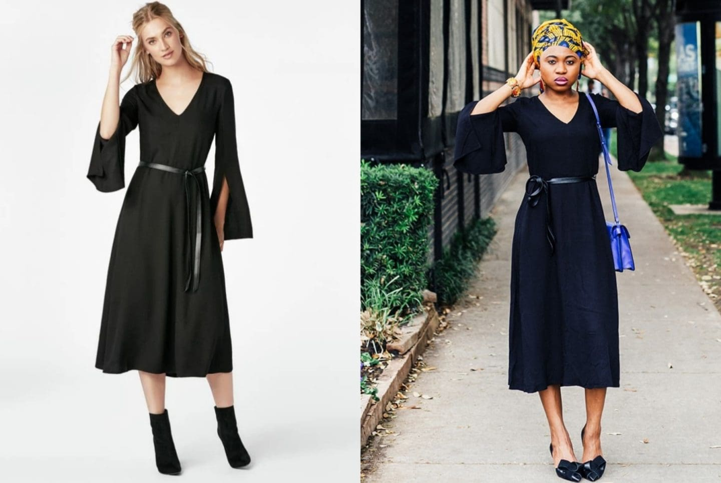 A side by side comparing wearing a JustFab Belted Midi Dress. Is JustFab a scam? Here's my honest review after spending my hard-earned money shopping for dresses and shoes on JustFab.