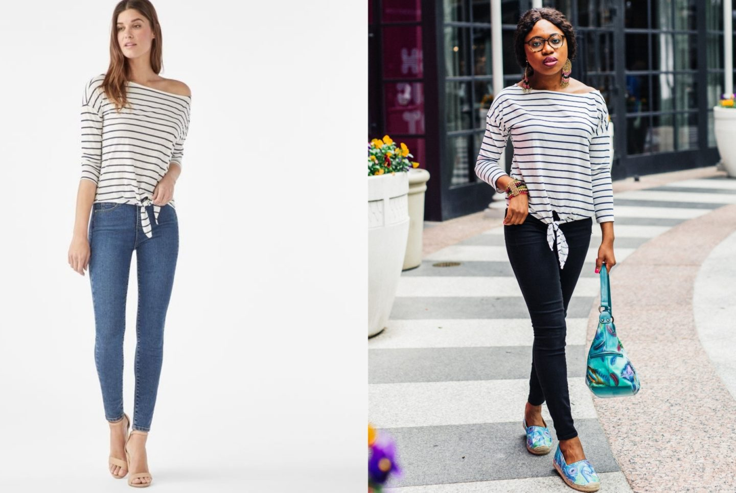 This is my honest review after spending my hard-earned money shopping for dresses and shoes on JustFab. Is JustFab legit or scam? A side by side comparing wearing a JustFab Slouchy Tie Top.