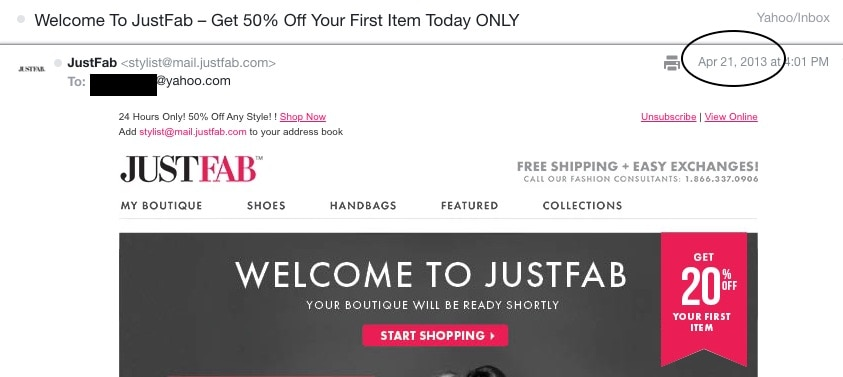 JustFab introductory promo code discount