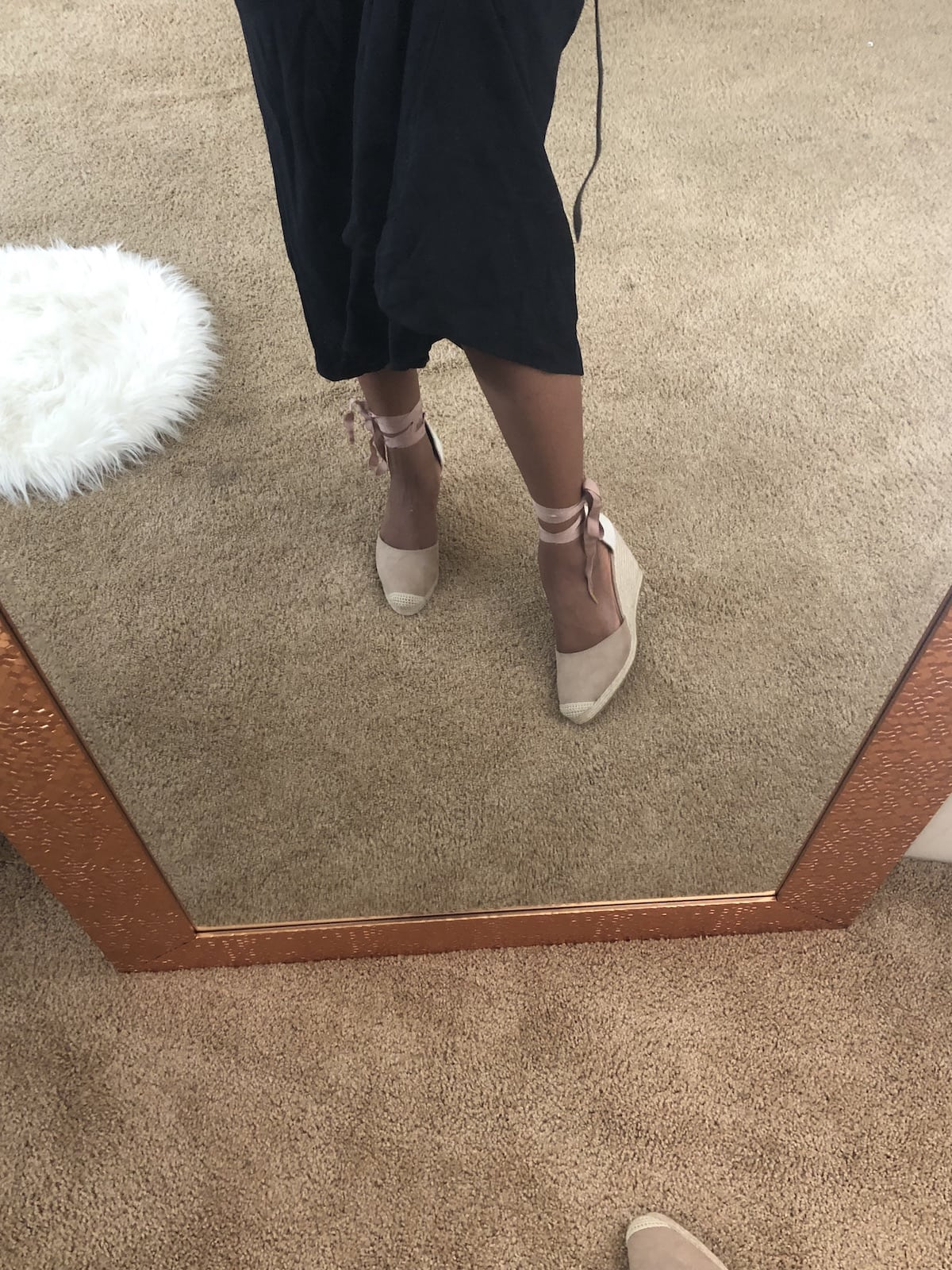 Mirror shoefie in JustFab dress and shoes
