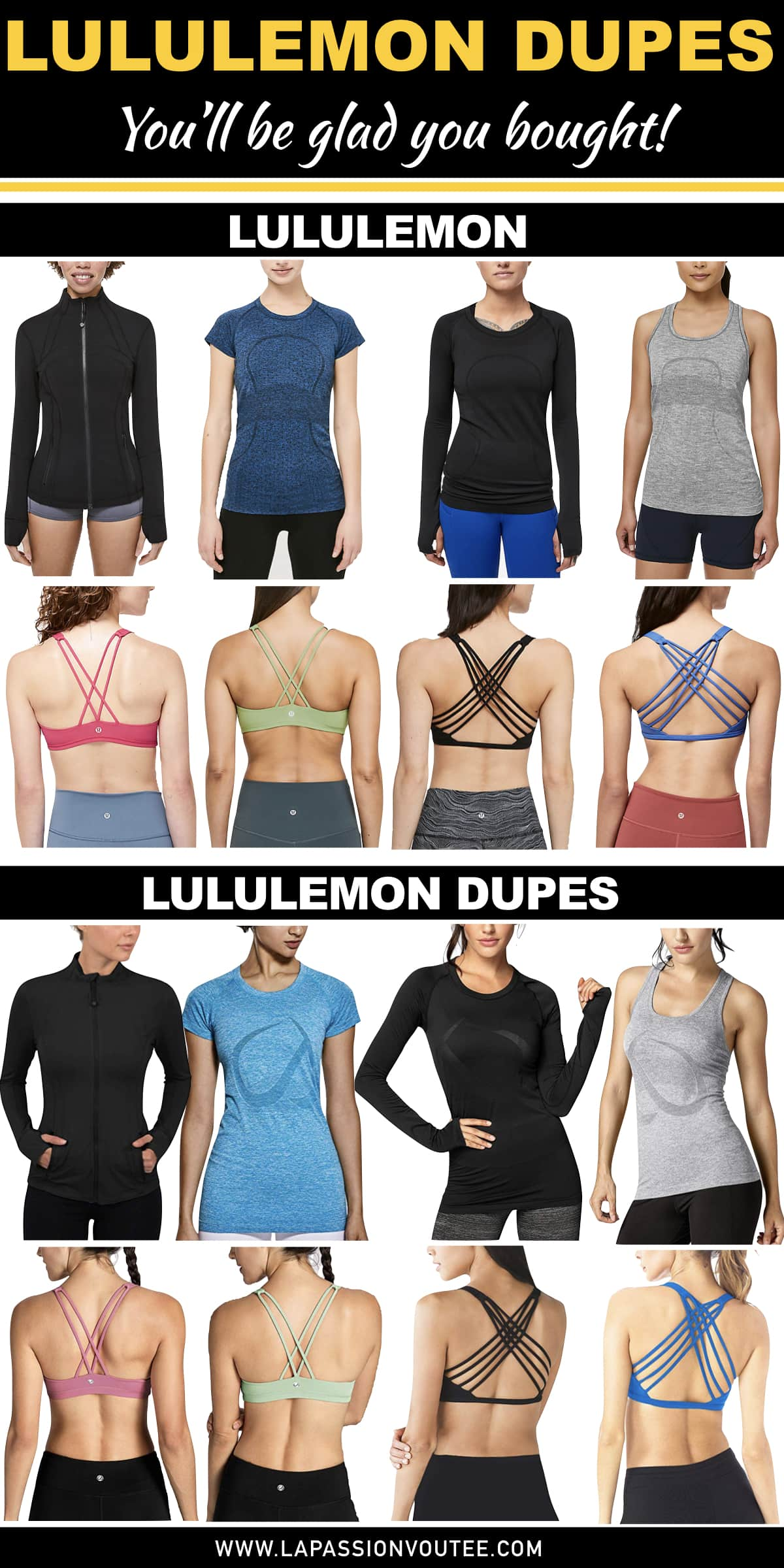Love Lululemon but not ready to part ways with so much money? These are the best Lululemon dupes on Amazon that'll save you serious money. #lululemon #dupes #athleticwear