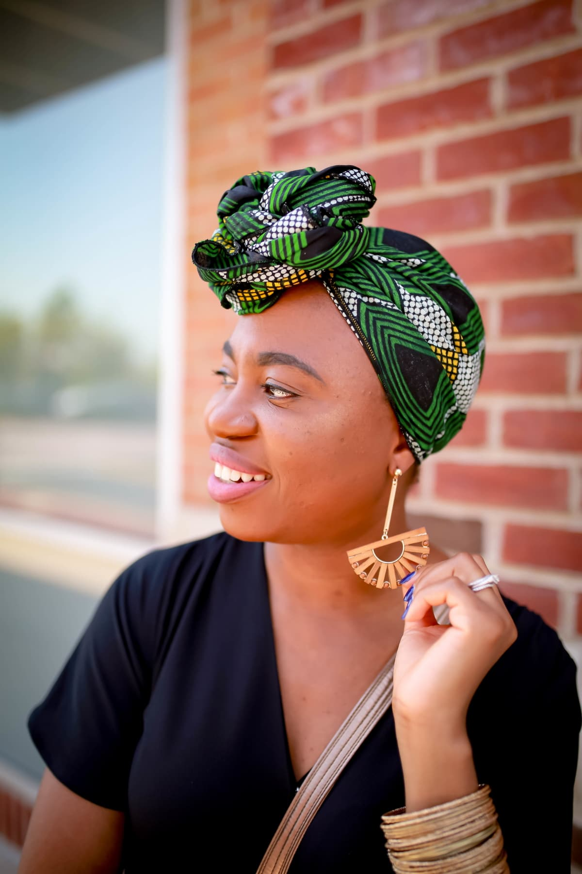 African print headwrap with bamboo earrings
