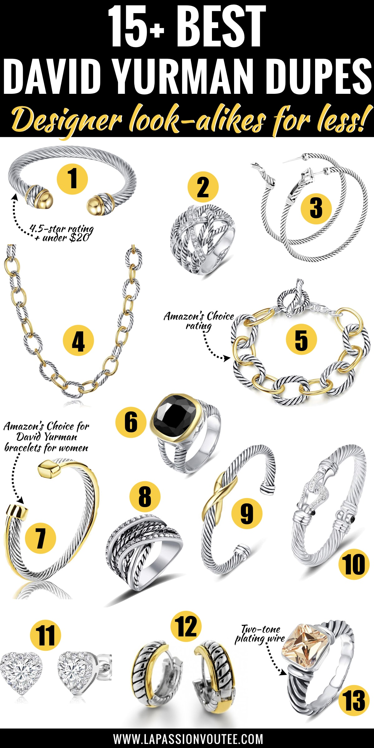 Best-selling David Yurman dupes! This is your ultimate guide to the best look alike David Yurman jewelry. It features a roundup of the best designer inspired cable bracelets that look like real David Yurman bracelets without the expensive price tag. These designer dupes are amazing alternatives that won't break the bank. Get the scoop!