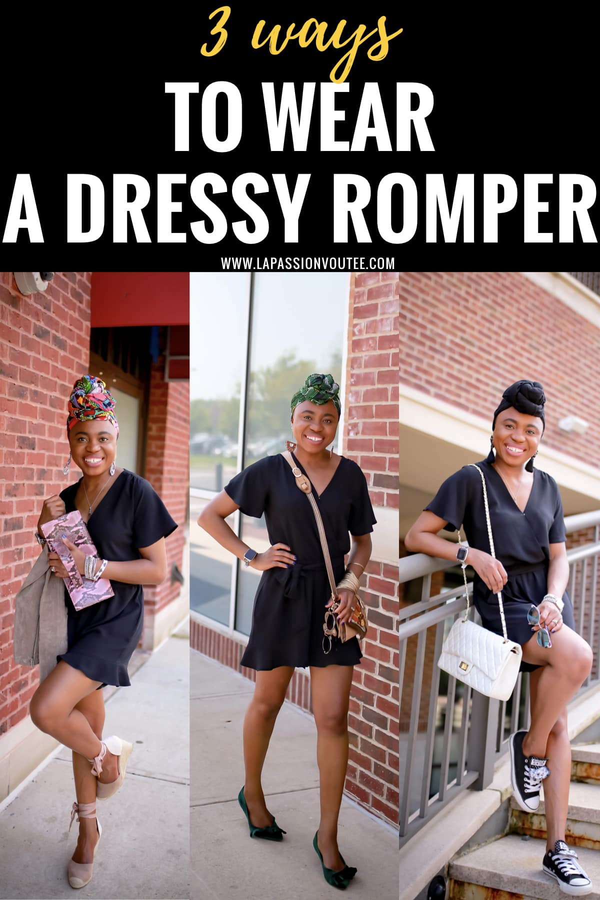 Looking for the perfect summer romper that won't break the bank? You'll love this black dressy romper. At a price point under $50, this stunning lightweight is great as a workwear paired with classic flats, as a date night outfit with platform espadrilles, and casual everyday look with a pair of Converse sneakers to run errands. #rompers #summerstyle #blackoutfi