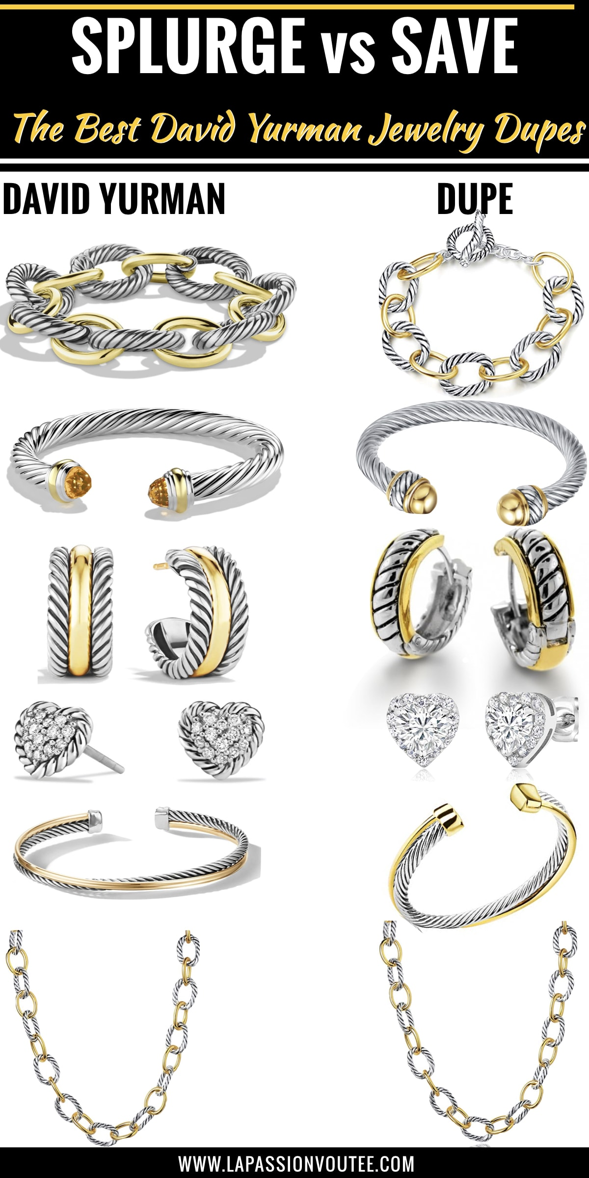 Your ultimate guide to discovering the best designer jewelry dupes like David Yurman look alike jewelry and more designer inspired cable bracelets for a fraction of the price. Keep reading to get the scoop on these luxury inspired pieces today.