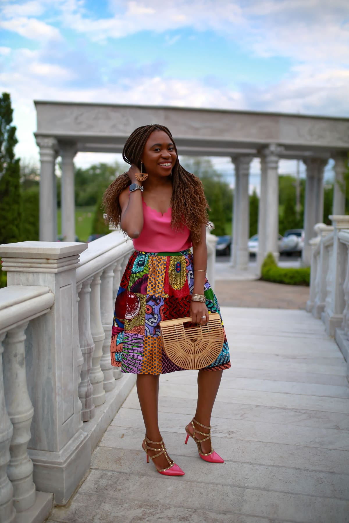 Finally found a stylish African print skirt that is affordable and still in stock. This authentic handmade ankara skirt will be my go-to this year. And Lord knows how long it took to sew each piece of wax print together before making this skirt. An Amazon find for sure!