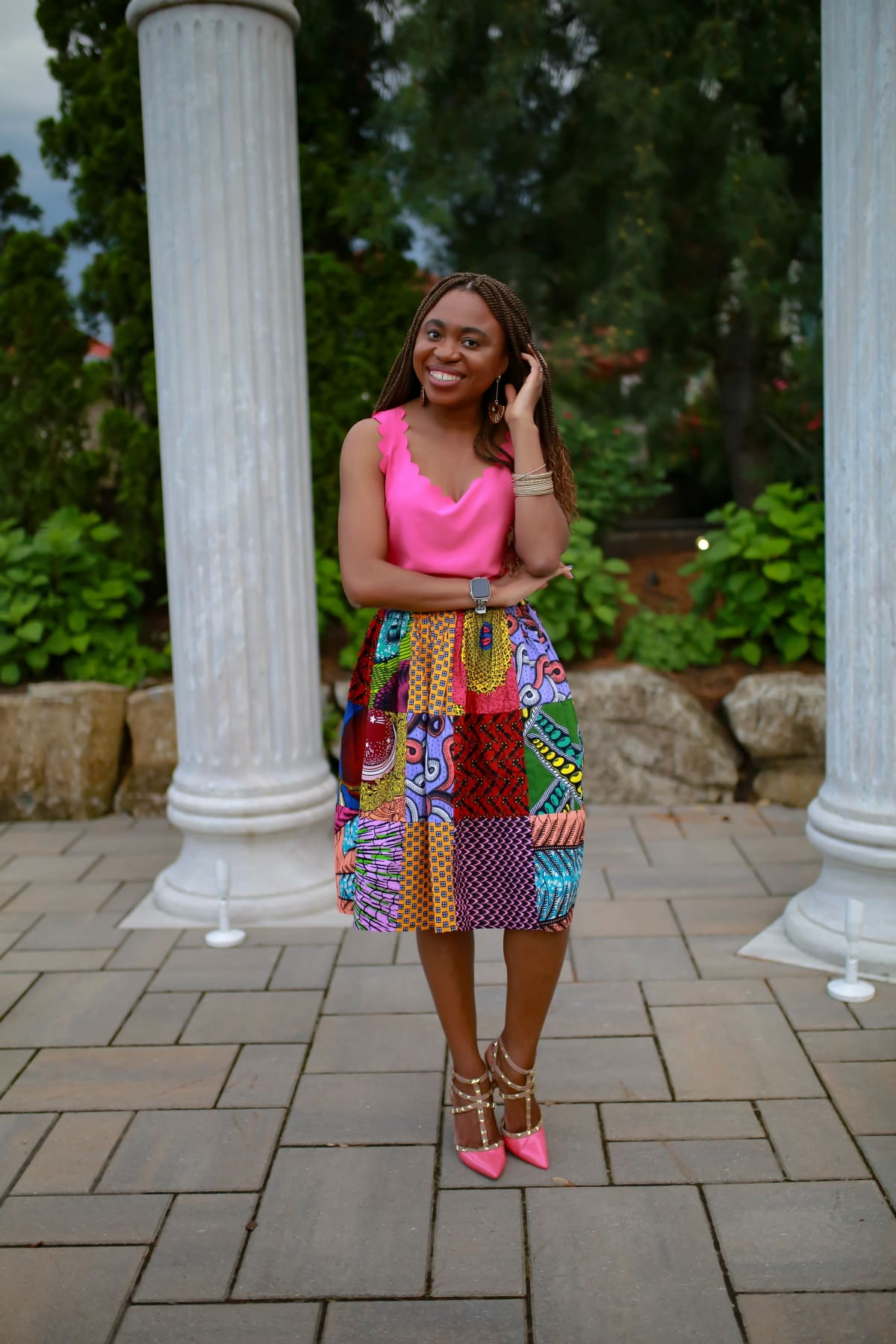 So shocked to discover five new ways to style one African midi skirt. And what's even more exciting is that this Amazon african print skirt is still available AND it's currently on sale. Plus it ships free with free returns/exchanges if needed.