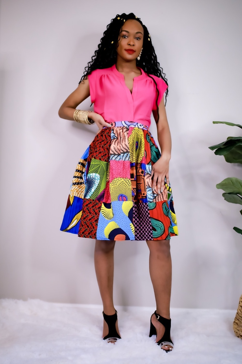 African Print Patchwork Midi Skirt by Boriah 2