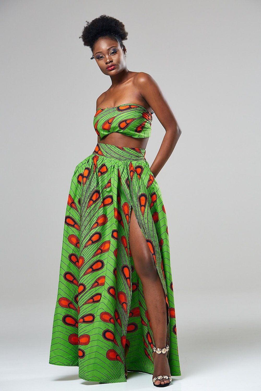 African print maxi skirt with long slit 5
