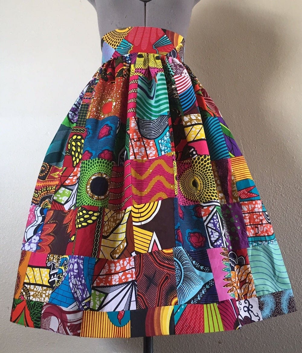 23 Hottest African Print Skirts | High Waisted Fit & Flare Skirt by With Flare 20