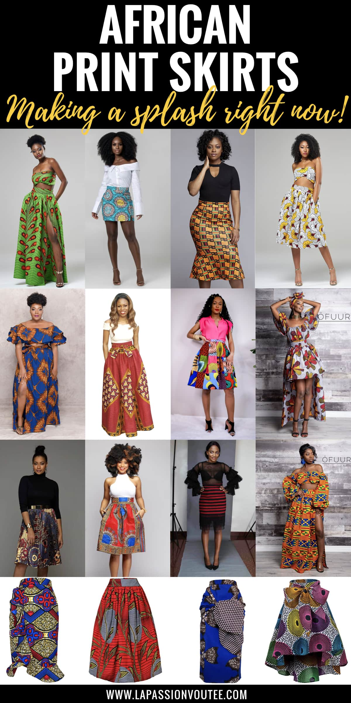 23 Hottest African Print Skirts | Who would have thought that African print clothes would look this good? Check out this unique selection from the best African fashion designers. From ankara Dutch wax, Kente, to Kitenge and Dashiki. All your favorite styles in one place (+find out where to get them). Click to see all! Ankara, Dutch wax, Kente, Kitenge, Dashiki, African print dress, African fashion, African women dresses, African prints, Nigerian style, Ghanaian fashion, Senegal fashion, Kenya fashion, Nigerian fashion #africanprint #ankarastyles