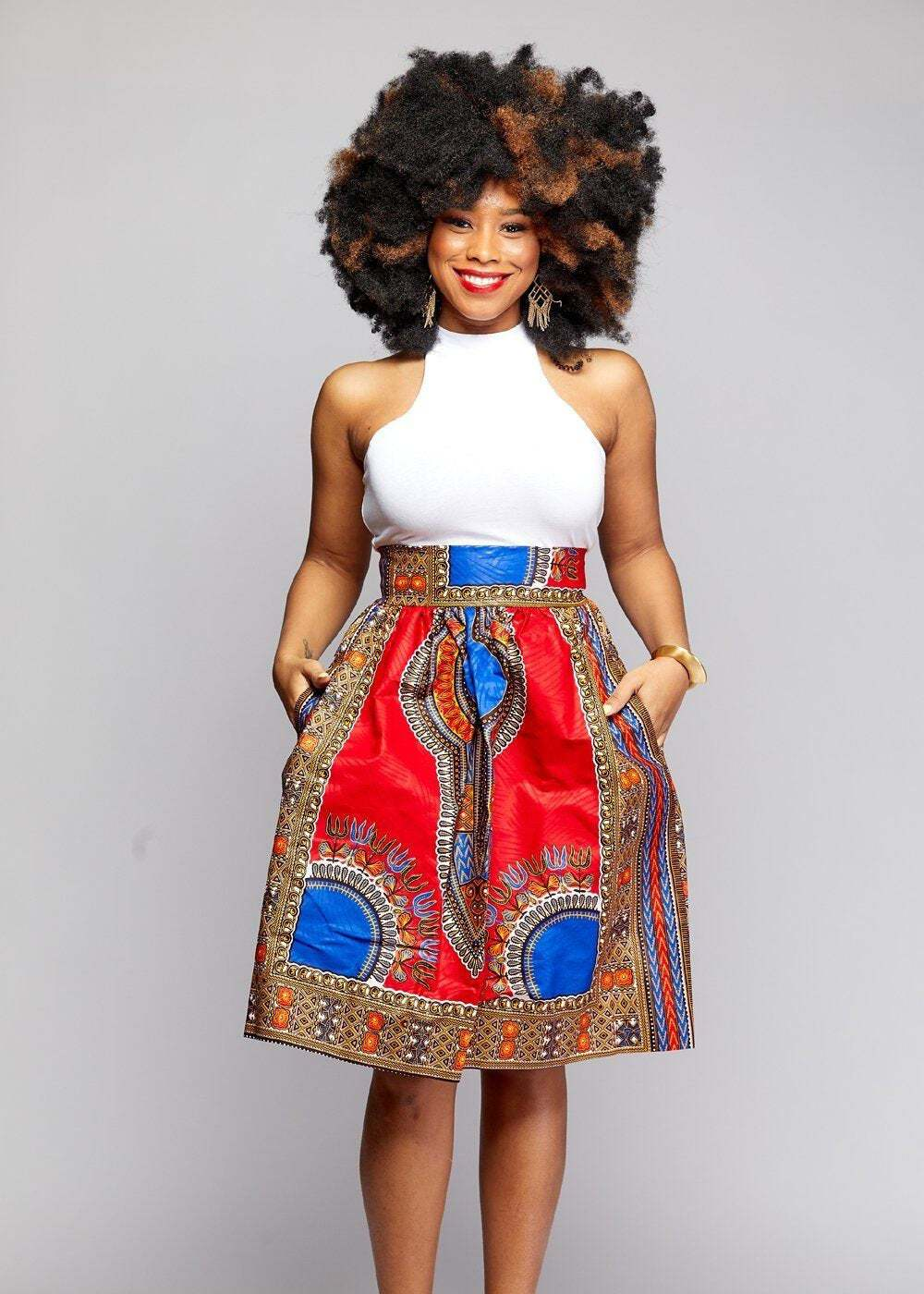 Naya Dashiki Midi Skirt by Diyanu 22