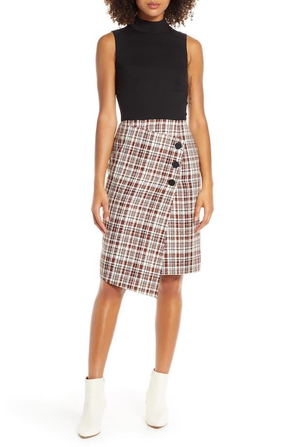 Chelsea28 Ponte Knit & Tweed Sleeveless Dress