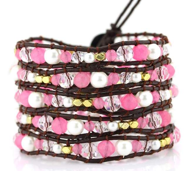 These are my favorite handmade leather wrap bracelets from Victoria Emerson. The June Birthstone Wrap Bracelet ranks high on my favorites and so does the Pinktricity Classic Wrap made from agate stones and clear crystals.